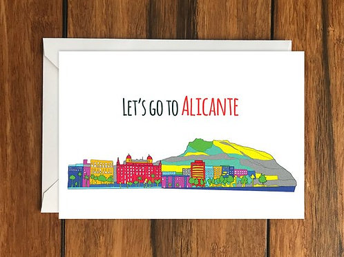 Lets go to Alicante Blank greeting card, Holiday Card, Gift Idea A6