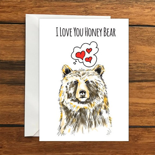 Honey Bear Romantic Greeting Card