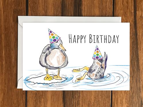 Happy Birthday Ducks greeting card A6