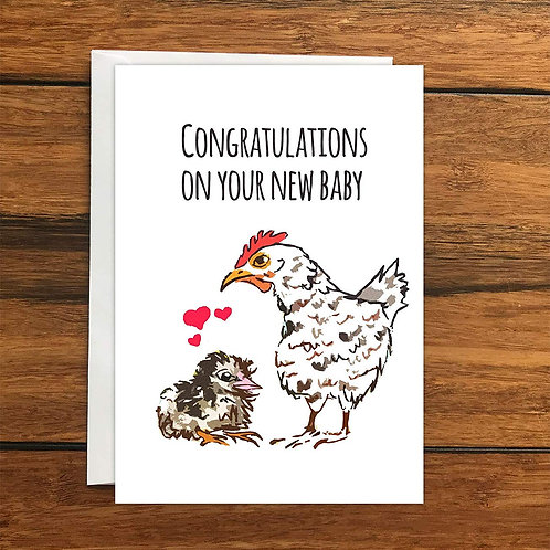 Congratulations on your new baby Chick Chicken greeting card A6