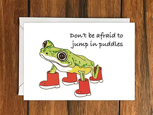 Don't be afraid to jump in puddles Frog in Wellies greeting card