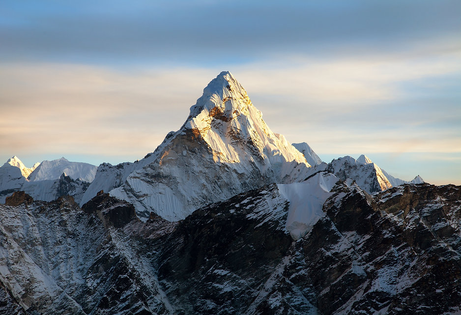 Evening view of Ama Dablam on the way to