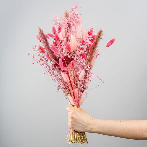 "Trockenblumenstrauss ""Flamingo-Kuss"""