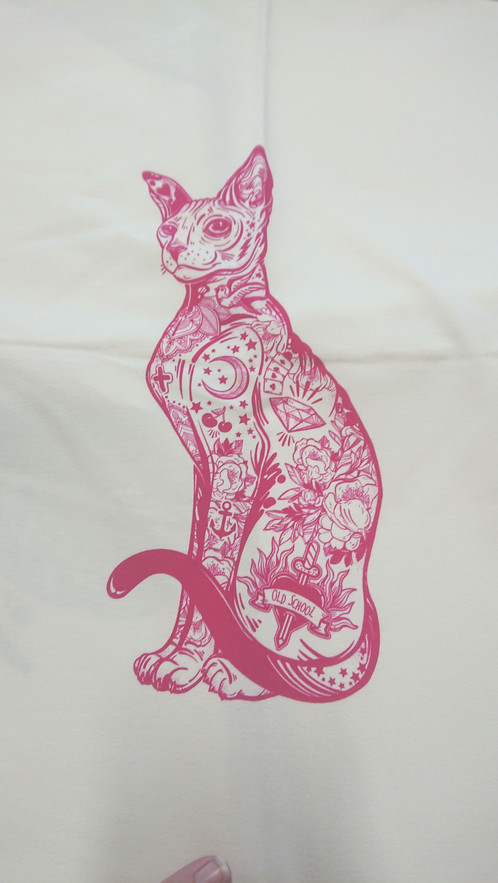 f724ca17f5e Pink tattoo cat French terry panel