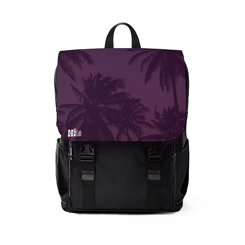 Purple Palm Top Flap Backpack