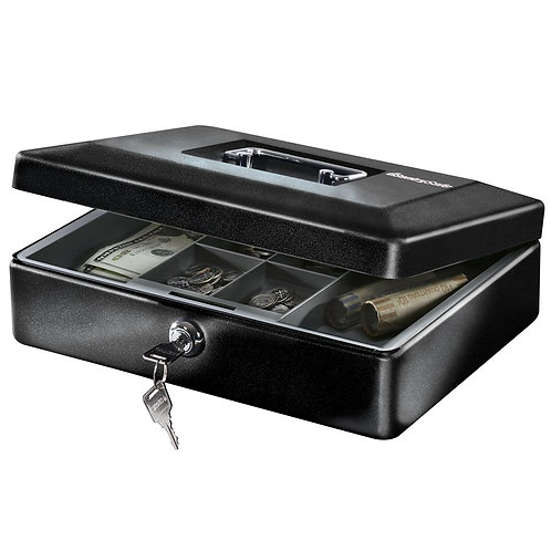Cash box (dark grey) with key to lock