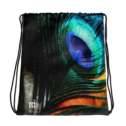 Peacock Feather Drawstring bag