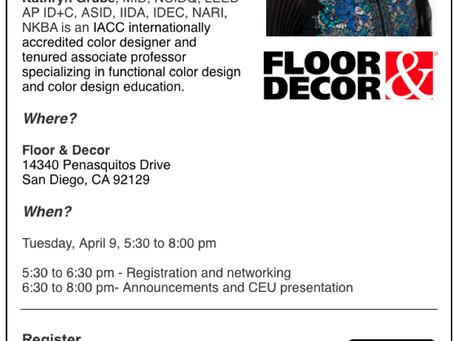 Join me in San Diego for functional color fused with the E + P's of design!