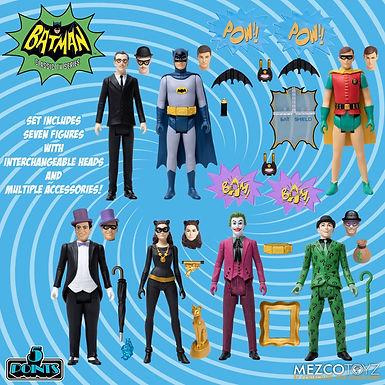 Mezco 5 Points Action Figures Deluxe Box Set Batman (1966) 9 cm