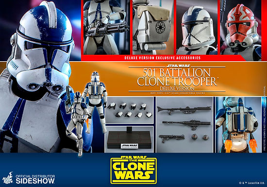 Hot Toys 1.6 Star Wars The Clone Wars 501st Clone Trooper Deluxe