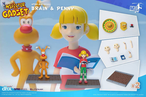 Inspector Gadget Mega Hero Action Figure 2-Pack 1/12 Brain & Penny 11 cm