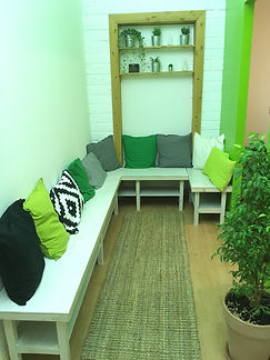 Inside Sacred Body Studio, waiting area