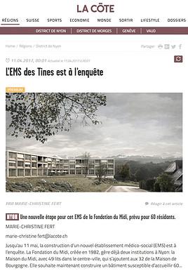 EMS des Tines mise à l'enquête - La Côte