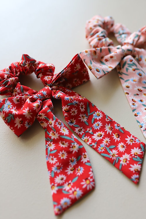 FRESH FLOWERS SCRUNCHIE BOWS ( 2 COLORS )