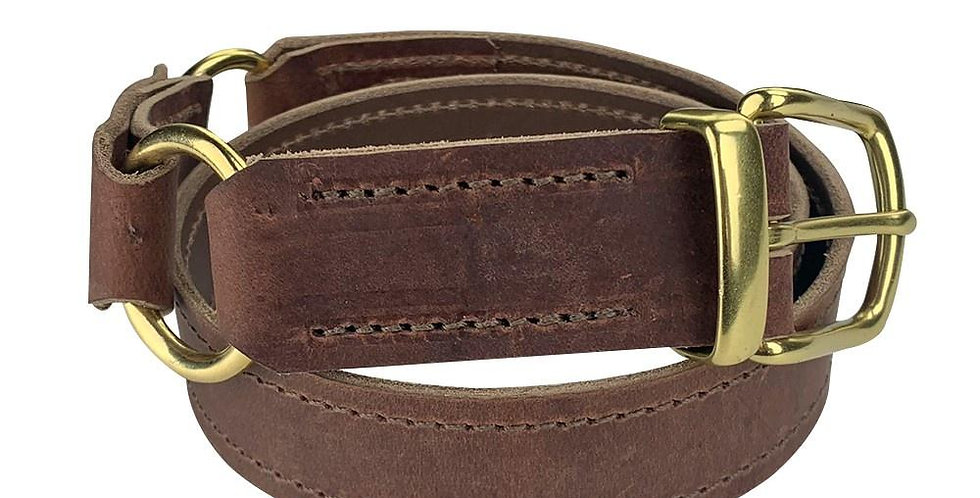 Leather Hobble Belt with Brass Fittings - Oak Brown