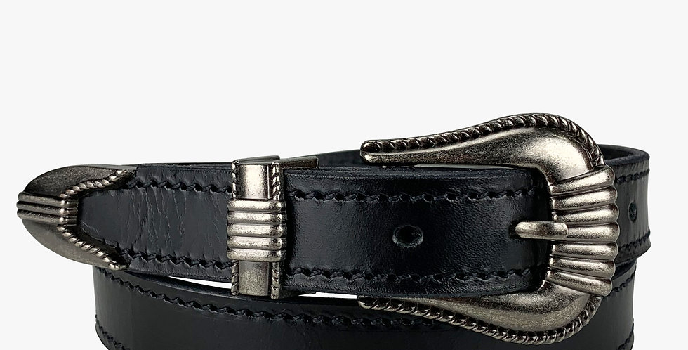 Ladies Dress Belt Gun Metal Buckle
