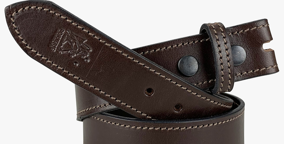 Leather Belt With No Buckle Brown