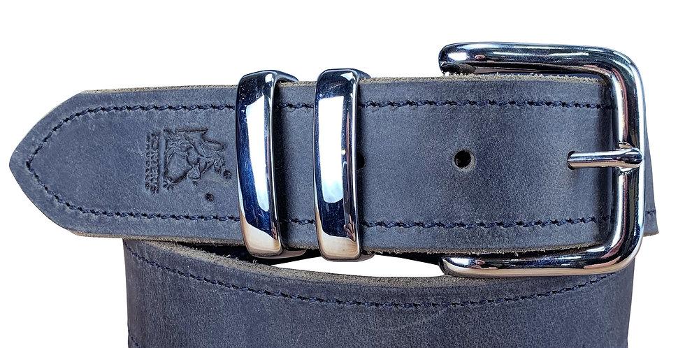 Leather Belt Distressed Black - 1 1/2