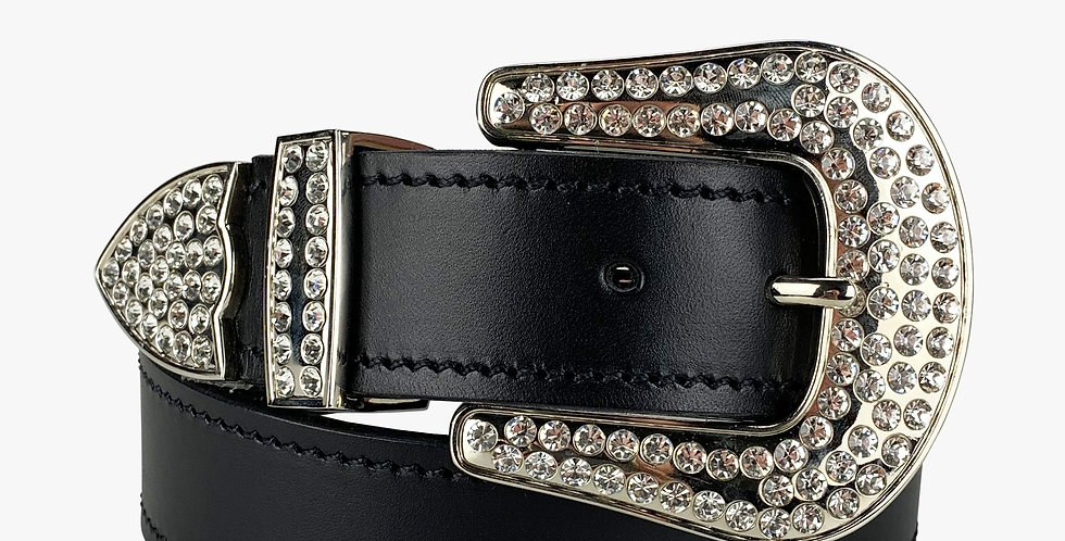 Ladies Glam Western Belt with Silver Buckle