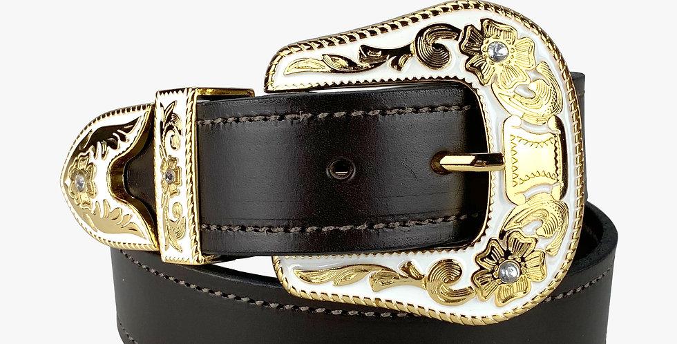 Ladies Glam Western Belt with White Enamel Buckle