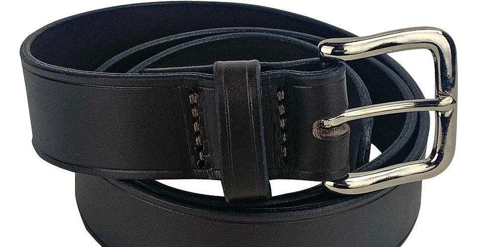 Leather Belt With Leather Belt Loop - Brown