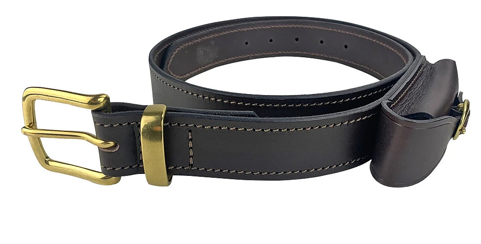 Leather Belt With Knife Pouch- Brown