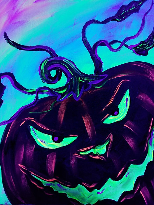 Neon Cat and Jack-o-lantern