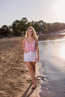 senior photo on the beach in wisconsin