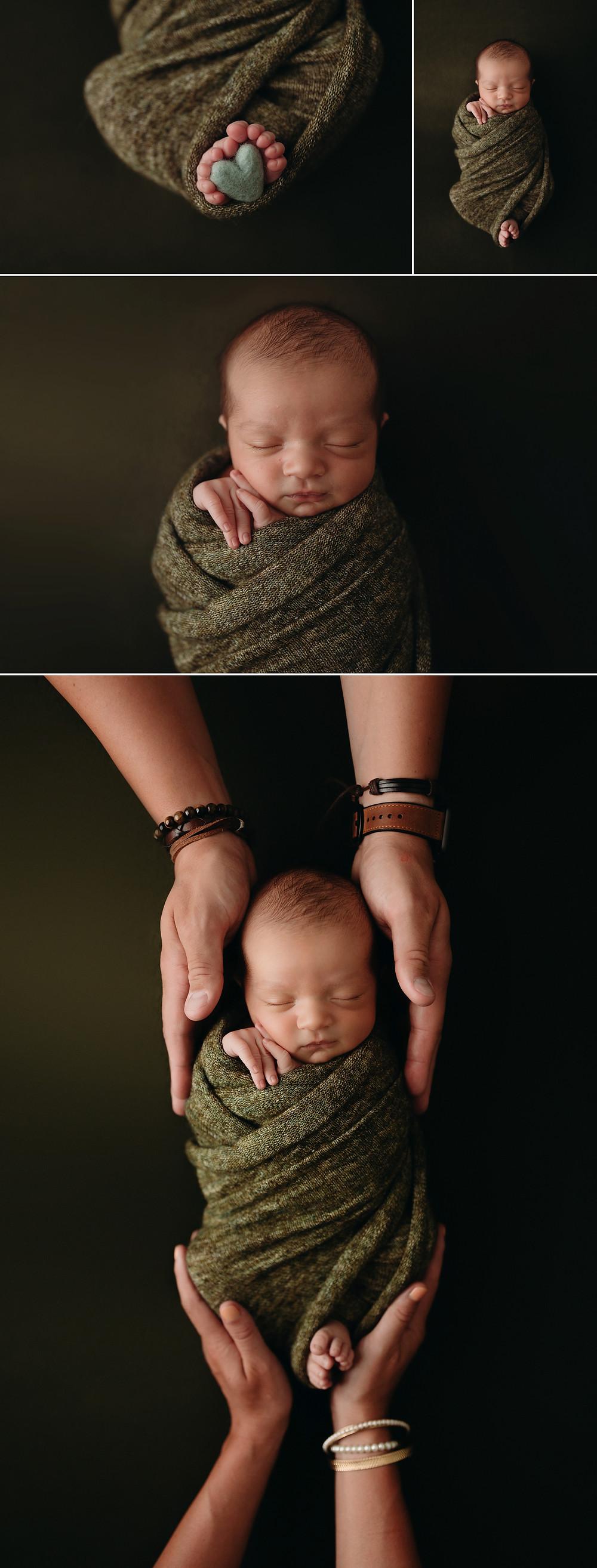 studio newborn session baby on green backdrop