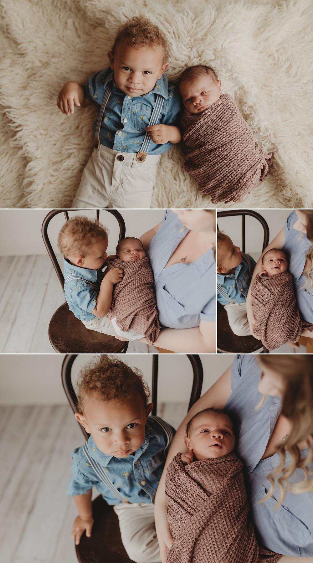 Newborn baby and siblings