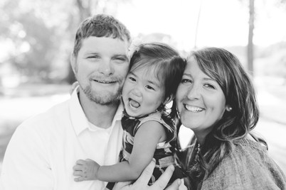 family photo in black and white, fun and laughing