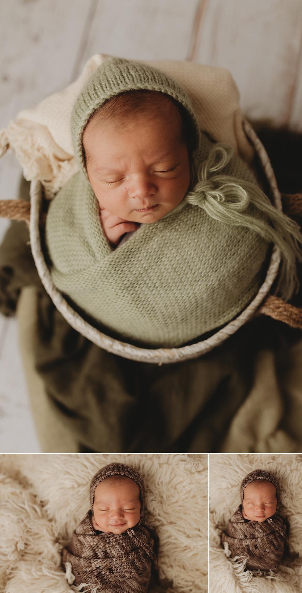 studio newborn session baby in a bucket