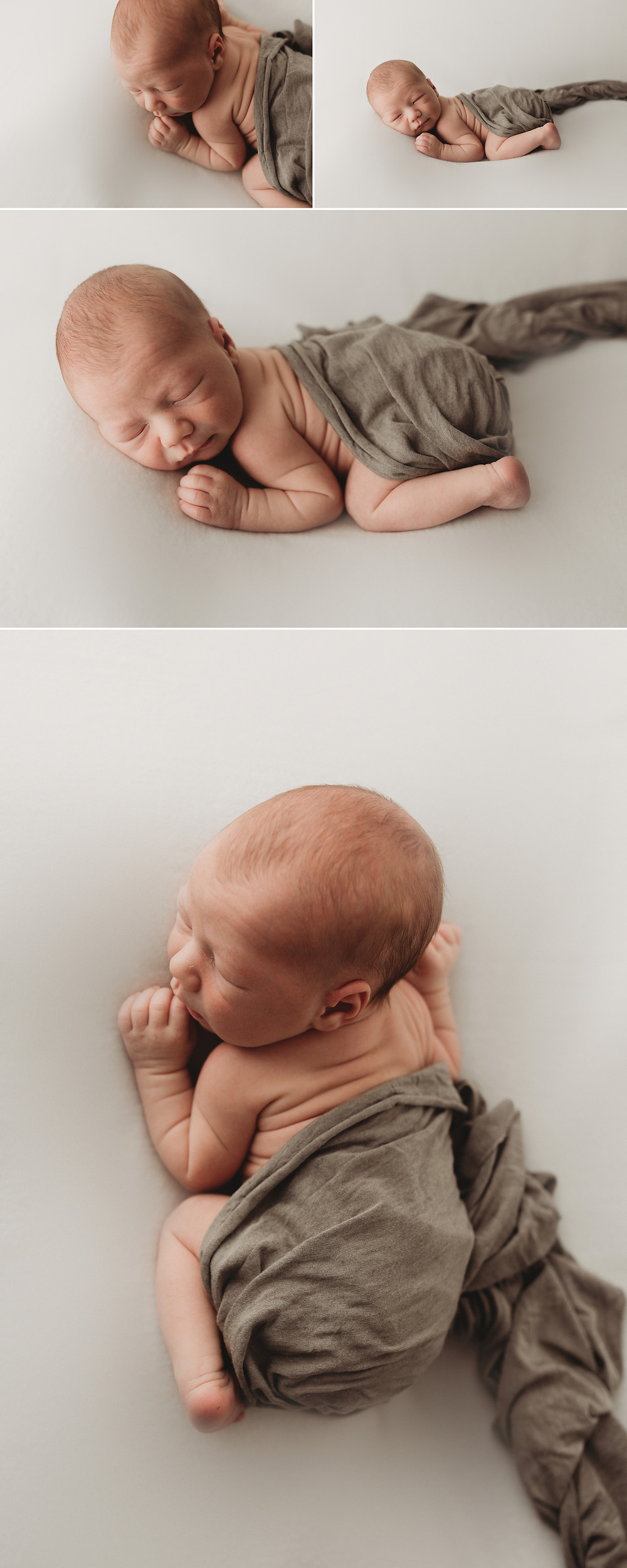newborn baby studio on belly