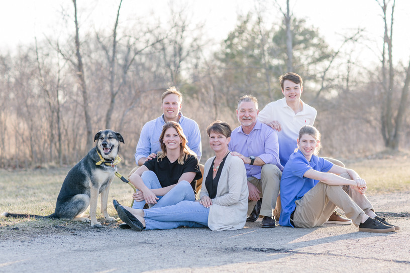 grown family portraits with pets