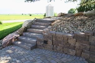 Retaining Wall, Patio & Stairs