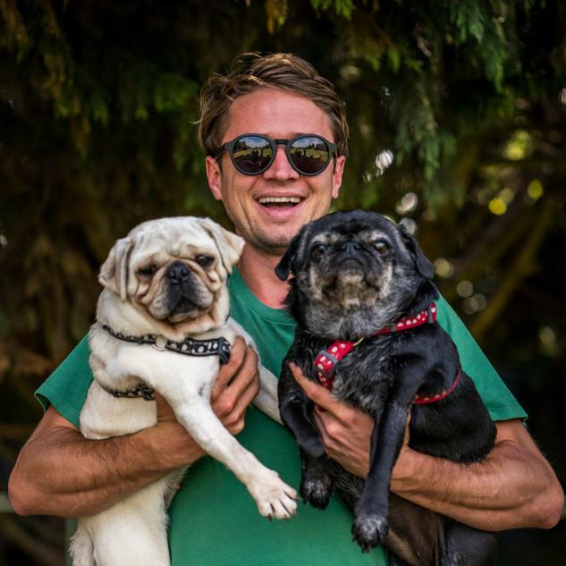 Rob with pugs