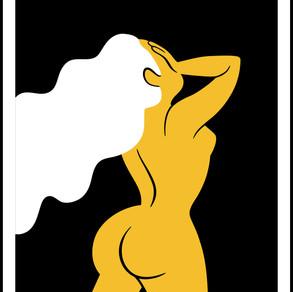 Yellow Lady White Hair