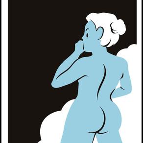 Blue Lady thinking