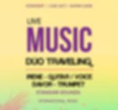 """""""Dúo Traveling""""   El Dúo Traveling esta compuesto por Irene con su guitarra y su increíble voz.  Le acompaña Davor a la Trompeta.    Música internacional de todos los estilos.    Standar Sounds.    Dos Componentes."""
