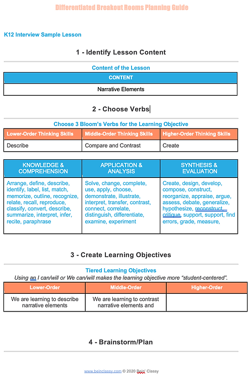Differentiated Breakout Rooms Lesson Planning Guide