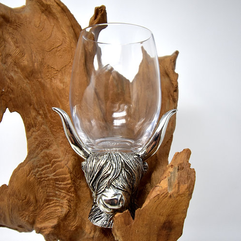Highland Coo Wine Glass