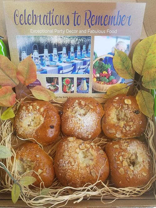 Gourmet Gift Box - Includes Celebrations Book & 6 Finnish Cardamom Pulla Rolls