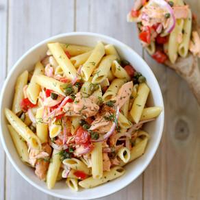 Prawn and smoked salmon creamy pasta salad