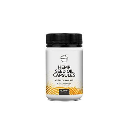 Hemp Foods Australia - Hemp Seed Oil Capsules w Turmeric 100c