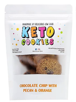 Delicious Low Carb - Keto Cookies Chocolate Chip Orange Pecan 100gr