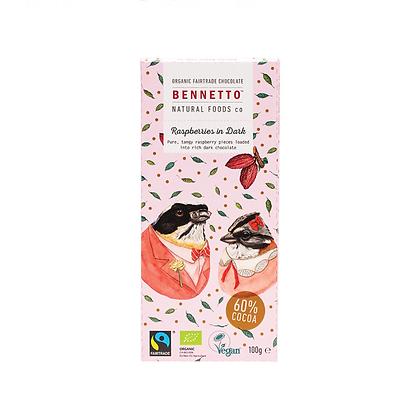 Bennetto - Raspberries in Dark Chocolate 100g