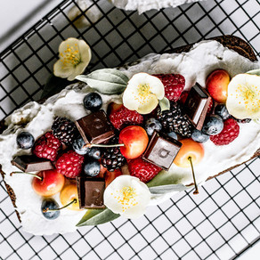 Healthy Ginger Loaf With Coconut Whipped Cream, Summer Berries and Chocolate
