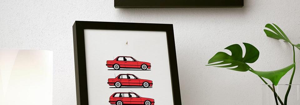 DIAGONALT BMW E30 PRINT