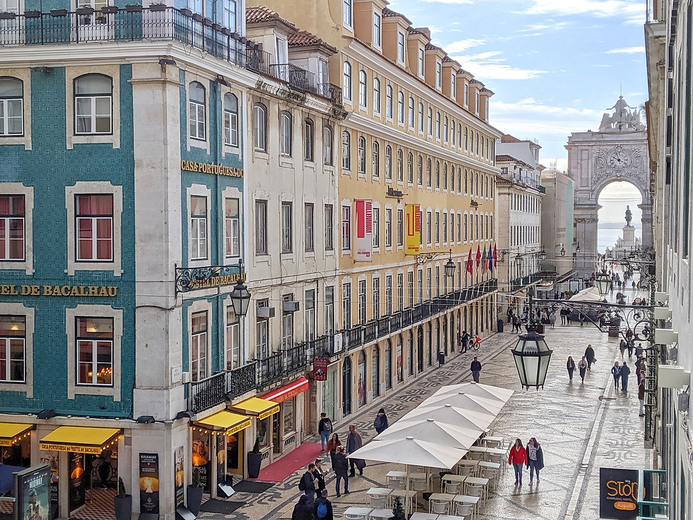 Rua Augusta, Lisbon - view from my Airbnb apartment
