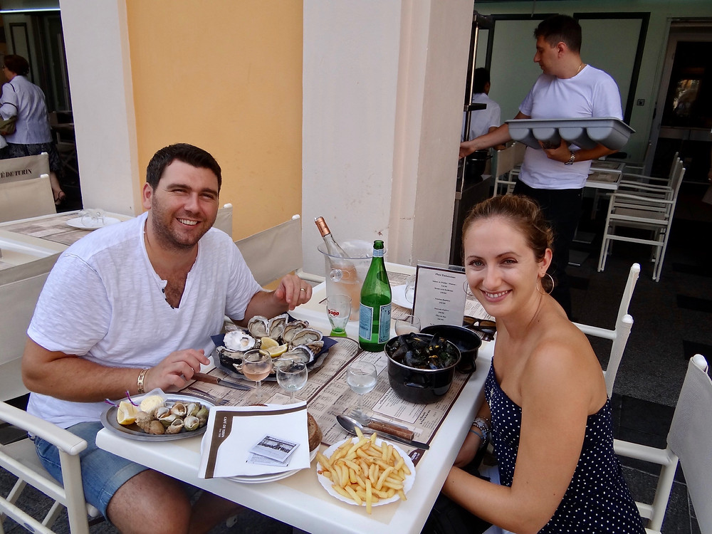 Seafood at Café de Turin, close to our apartment in Nice